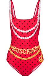 Moschino Printed Swimsuit Red