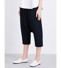 Jil Sander Dropped Crotch Wide High Rise Wool Trousers Navy
