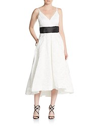 Carmen Marc Valvo Infusion Beaded Jacquard Fit And Flare Dress White