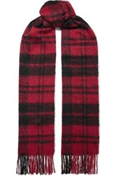 Saint Laurent Fringed Checked Wool Blend Scarf Red
