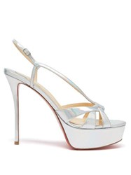 Christian Louboutin Veracite Leather Stiletto Sandals Silver