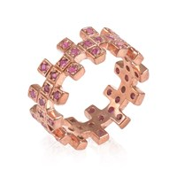 Maiko Nagayama Zig Zag Two In A Row Ruby Ring Red Rose Gold Pink