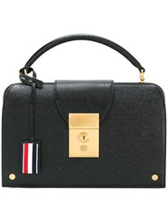 Thom Browne Mrs. Pocketbook 27X18x8 Cm In Pebble Lucido Leather Black