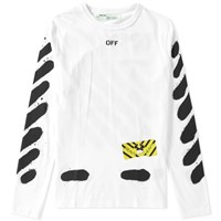 Off White Diagonals Spray Long Sleeve Tee White