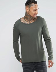 Asos Long Sleeve T Shirt With Scoop Neck In Green Khaki