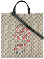 Gucci Snake Print Gg Supreme Tote Men Leather Polyurethane One Size Nude Neutrals