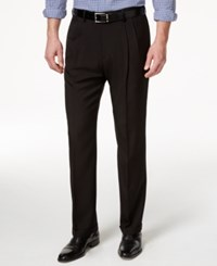 Haggar Men's Big And Tall Stria Classic Fit Eclo Double Pleated Dress Pants Black