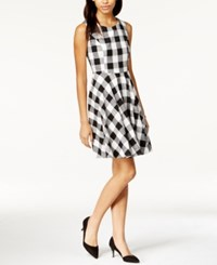 Maison Jules Gingham Fit And Flare Dress Only At Macy's Black Combo