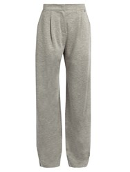 Max Mara Wide Leg Jersey Trousers Light Grey