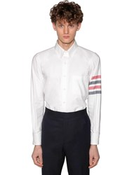 Thom Browne Straight Fit Cotton Flannel Shirt White