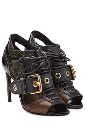 Burberry Shoes And Accessories Leather Sandals With Snakeskin Multicolor