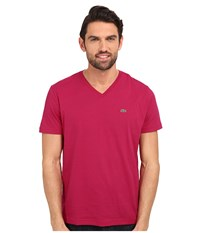 Lacoste S S Pima Jersey V Neck T Shirt Circus Pink Men's Short Sleeve Pullover
