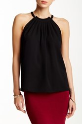 Blvd Sleeveless Pleated Neck Top Black