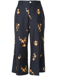 Gucci Floral Tailored Cropped Trousers Blue