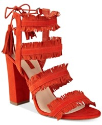 Guess Women's Econi Strappy Block Heel Dress Sandals Women's Shoes Orange Suede