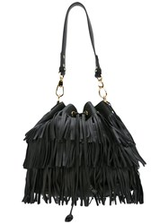 L'autre Chose Fringed Shoulder Bag Black