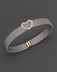 Charriol Yellow Gold And Stainless Steel Heart Bangle Bracelet No Color