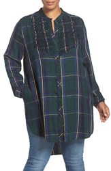 Melissa Mccarthy Seven7 Plus Size Women's Smocked Bib Plaid High Low Tunic Pine Grove