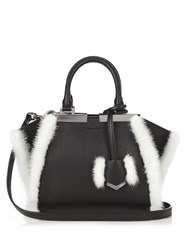 Fendi 3Jours Mini Mink Trimmed Leather Tote Black White
