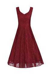 Jolie Moi Sweetheart Pleated Lace Dress Dark Red