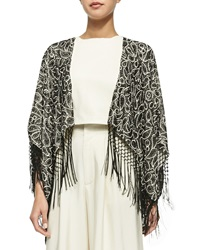 Alice Olivia Bae Embroidered Beaded Fringe Shawl