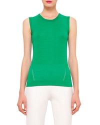 Akris Sleeveless Round Neck Top With Keyhole Bonsai