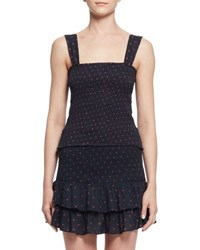 Etoile Isabel Marant Manon Sleeveless Shirred Polka Dot Top Midnight