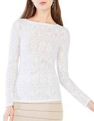 Bcbgmaxazria Wylie Long Sleeve Lace Top White