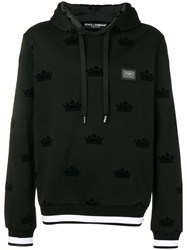 Dolce And Gabbana Crown Pattern Hoodie Black