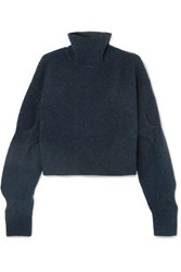 Alexander Wang T By Cropped Wool Blend Turtleneck Sweater Petrol