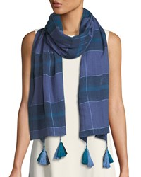 Eileen Fisher Grid Pattern Organic Cotton Scarf Periwinkle