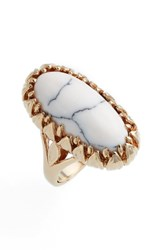 Metal Stone Women's And Claw Wrapped Oblong Ring