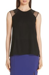 Boss Eleah Lace Inset Sleeveless Blouse Black