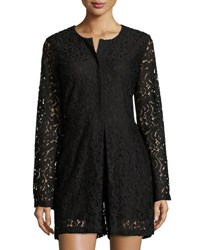Neiman Marcus Lace Button Up Romper Black