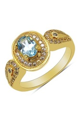 Olivia Leone Oval Blue Topaz And Cz Halo Loop Shoulder Ring