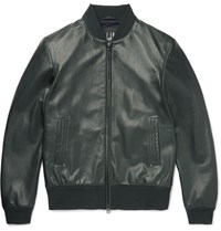 Dunhill Leather Bomber Jacket Dark Green