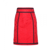 Dolce And Gabbana Brocade Pencil Skirt Bright Red