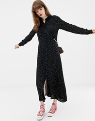 Soaked In Luxury Spotty Maxi Shirt Dress Black Misted Yellow Multi