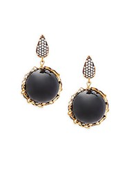 Azaara Celestial Black Onyx Cubic Zirconia And Sterling Silver Drop Earrings
