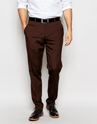 Asos Slim Smart Trousers Brown