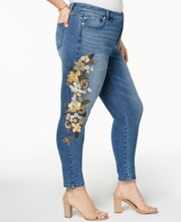 Inc International Concepts I.N.C. Plus Size Embroidered Skinny Jeans Created For Macy's Indigo