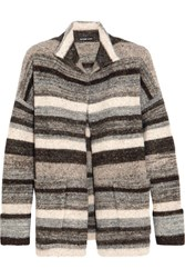 James Perse Striped Stretch Knit Cardigan Gray