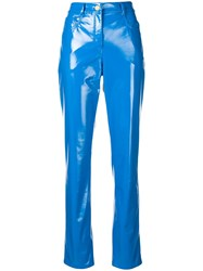 Alberta Ferretti Faux Leather Trousers Blue