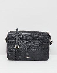 Paul Costelloe Real Leather Moc Croc Cross Body Bag Black