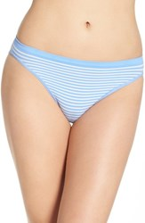 Nordstrom Women's Lingerie Seamless High Cut Briefs Blue Cornflower Stripe