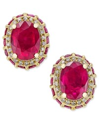 Macy's Ruby 3 7 8 Ct. T.W. And White Sapphire 1 5 Ct. T.W. Oval Stud Earrings In 10K Gold