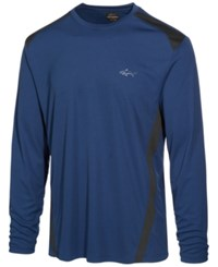 Greg Norman For Tasso Elba Men's Pieced Performance Long Sleeve T Shirt Only At Macy's Blue Socket