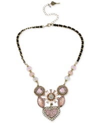 Betsey Johnson Gold Tone Crystal Gem Cluster Frontal Necklace