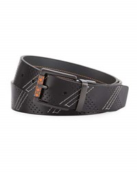 Robert Graham Perforated Leather Reversible Belt Black Gray