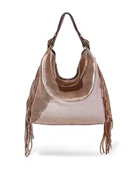 Brian Atwood Dubai Metallic Fringed Leather Hobo Bag Gold
